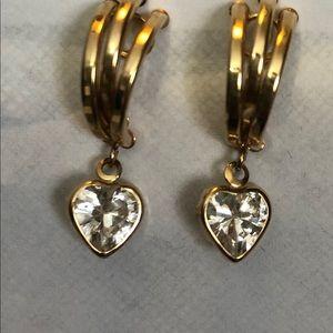 Gold CZ dangle earrings